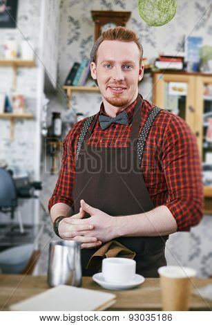Happy barman in apron looking at camera in cafe