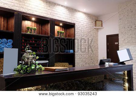 Reception desk in a spa salon