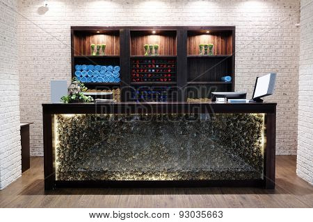 Reception desk in a spa salon