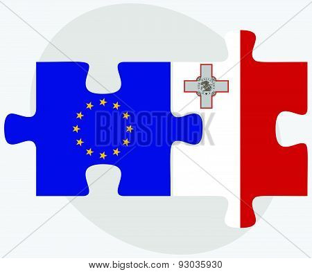 European Union And Malta Flags In Puzzle