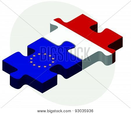 European Union And Marshall Islands Flags In Puzzle