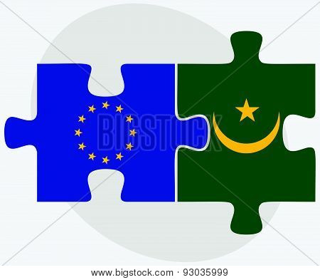 European Union And Mauritania Flags In Puzzle