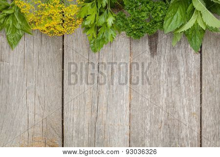 Herbs selection. Aromatic ingredients on wood table with copyspace