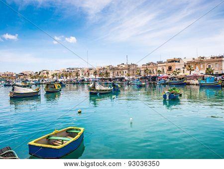 Fishing boats in Marsaxlokk harbor. Malta
