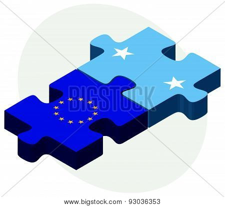 European Union And Micronesia Flags In Puzzle