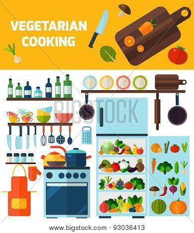 Flat kitchen and vegetarian cooking icons.
