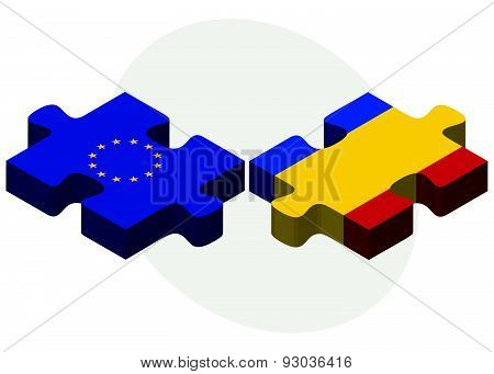 European Union And Moldova Flags In Puzzle