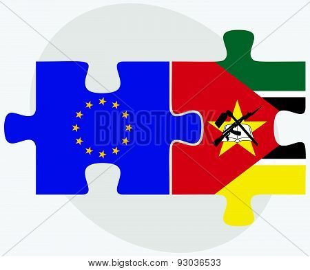 European Union And Mozambique Flags In Puzzle