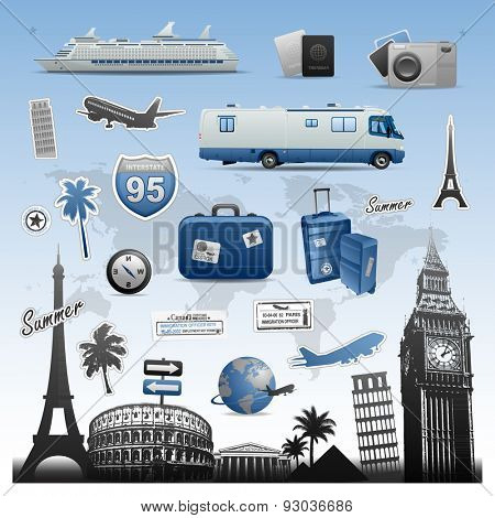 Travel vacations icons and symbols elements