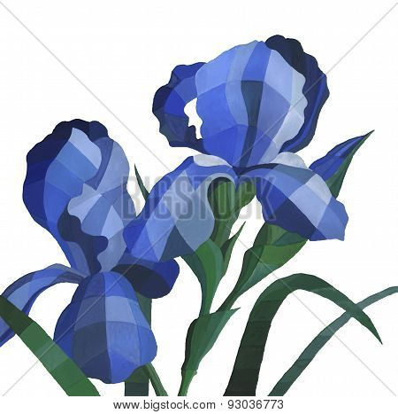 Vector Watercolor Iris Flowers Isolated On White Background. Decorative Polygon Blue Iris Flower Wit
