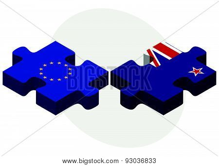 European Union And New Zealand Flags In Puzzle