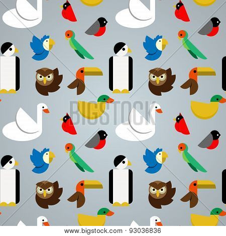 Various Birds Seamless Vector Pattern