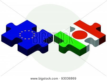 European Union And Niger Flags In Puzzle