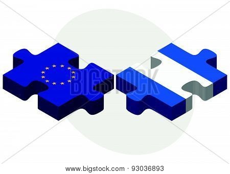 European Union And Nicaragua Flags In Puzzle