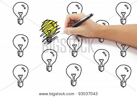 Hand With Pen Drawing Scribbles On Yellow Light Bulb Idea Among Many To Remove Idea On Pure White Ba