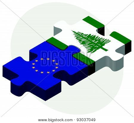 European Union And Norfolk Island Flags In Puzzle