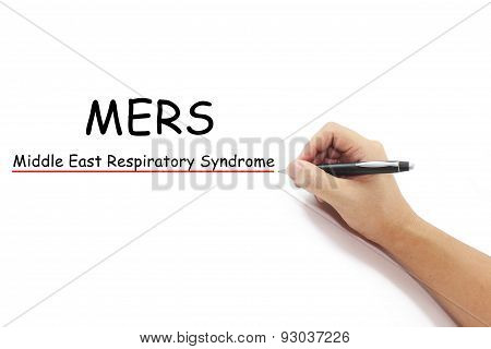 Mers Text With Hand Writing