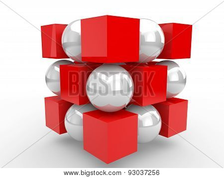 3d red cubes and white spheres