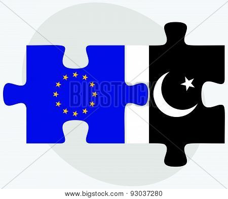 European Union And Pakistan Flags In Puzzle