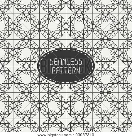 Geometric monochrome lattice seamless arabic pattern. Islamic oriental style. Wrapping paper.
