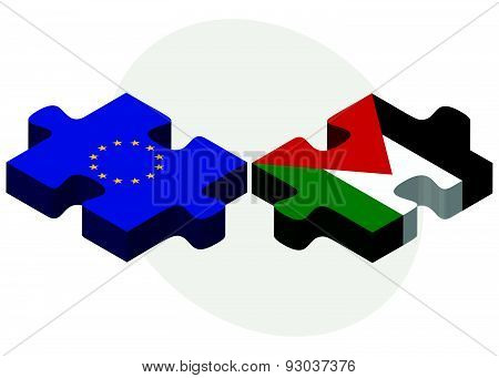 European Union And Palestine Flags In Puzzle