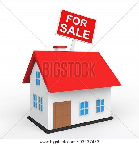 3d house with for sale placard
