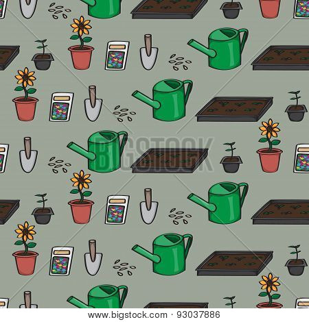 Seamless Cartoon Gardening Background