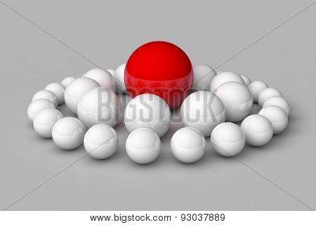 Many White Balls Among Which The Red Stands Out. 3D Render Image.