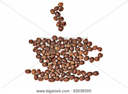 Coffee cup and saucer symbol made of coffee beans