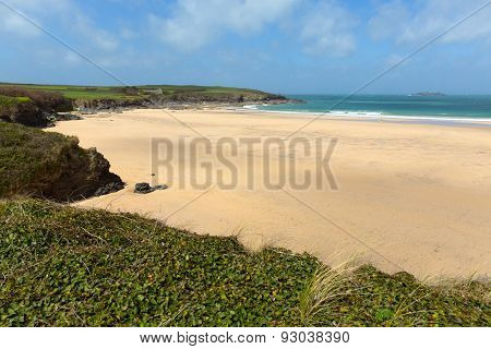 sandy beach near Newquay Harlyn Bay North Cornwall England UK near Padstow