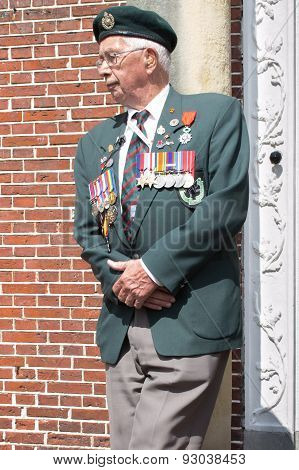 Dokkum, may 5, 2015, Celebration of Liberation day, Canadian veteran is waiting to be interviewed.