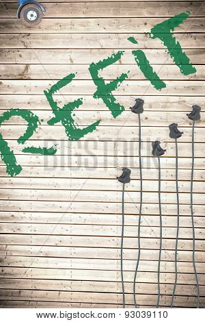 The word refit against plugs on wooden background