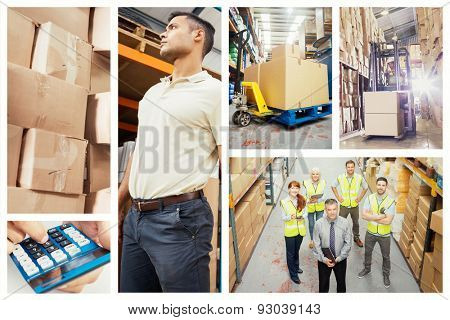 Boxes on trolley in warehouse against forklift machine in warehouse