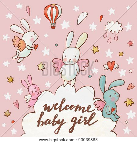 Welcome baby girl - concept card. Fantastic childish background made of cartoon signs: lovely rabbits, hearts, stars, clouds and air balloon in the sky. Sweet congratulation card in vector