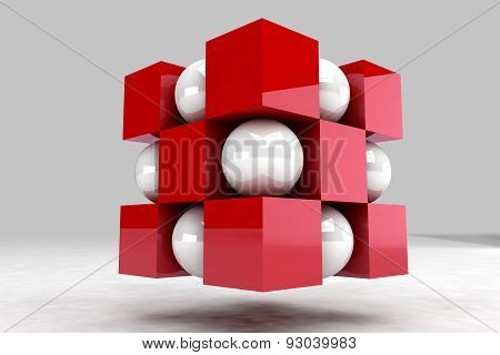 Geometric Body Made Of White Balls And Red Cubes. 3D Render Image.