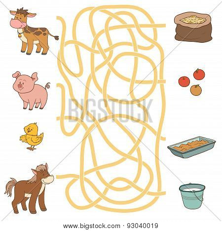 Maze Game (farm Animals And Food). Cow, Pig, Chicken, Horse