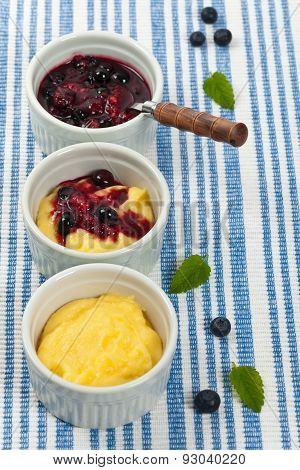 Pudding with Blueberry Compote
