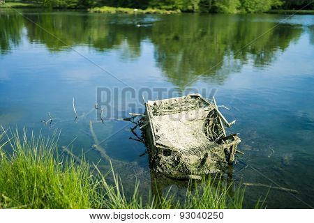 Broken box in lake
