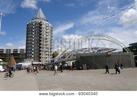 Rotterdam, Netherlands - May 9, 2015: Pencil Tower, Cube Houses And Blaak Station In Rotterdam.