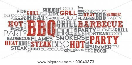BBQ related word cloud vector