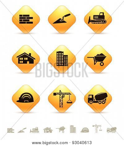 Construction and realty icons on yellow rhombic buttons