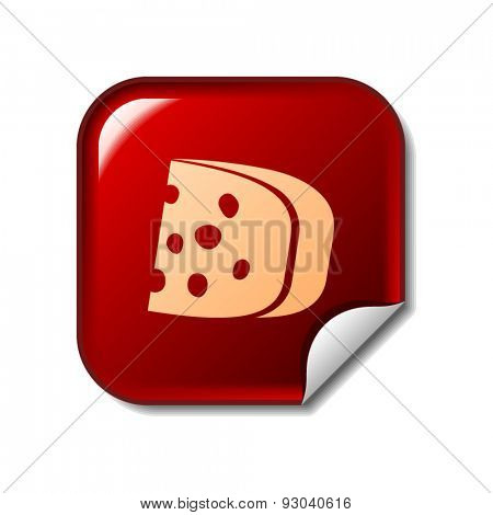 Cheese icon on red sticker. Vector illustration