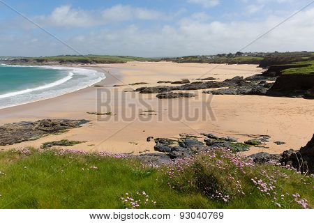 Rocky beach and sand Harlyn Bay North Cornwall England UK near Padstow and Newquay