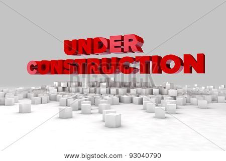Under Construction Sign With Blocks Of Cubes. 3D Render Image.