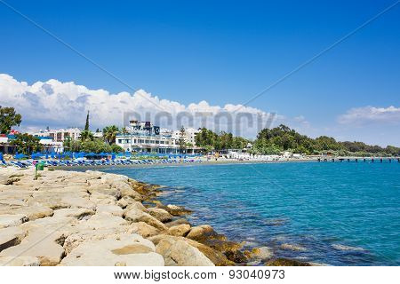 View of Limassol coast line. Hotels and beach.