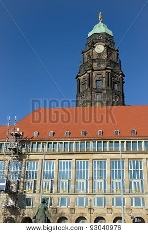 New Town Hall With Old Tower In Dresden, Saxony, Germany.