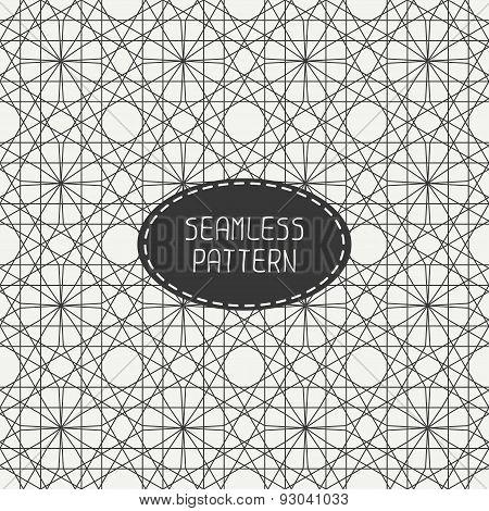 Geometric line monochrome lattice seamless arabic pattern. Islamic oriental style. Wrapping paper.