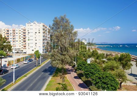 Panoramic view of Limassol city. Bicycle track along the road.