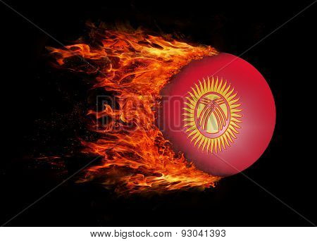 Flag With A Trail Of Fire - Kyrgyzstan