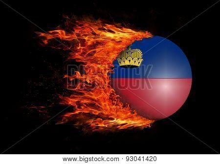 Flag With A Trail Of Fire - Liechtenstein